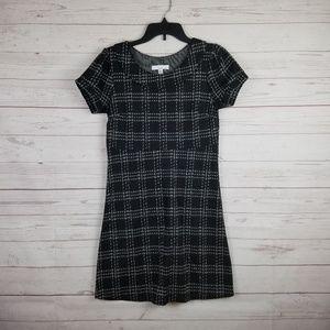 Lucy & Laurel Black plaid print fit flare dress 8